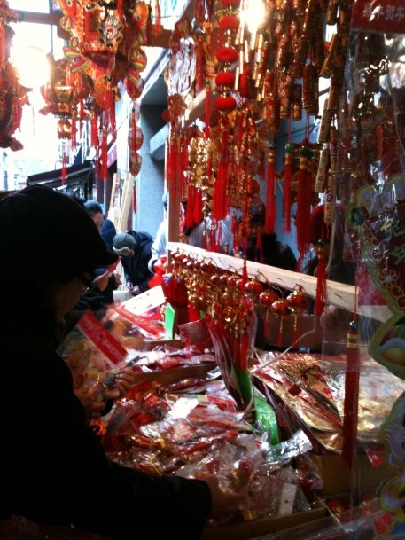 New Years decorations in Chinatown. Photo: Grace Young.